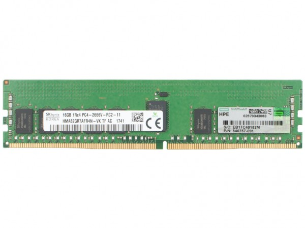 HPE 16GB DDR4 RAM 2Rx4 PC4-2666V Registered Dimm, 815098-B21, 840757-091, 850880-001