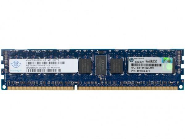 HPE 4GB DDR3 RAM 1Rx4 PC3-10600R-9 REG Dimm, 593339-B21, 591750-071, 595424-001