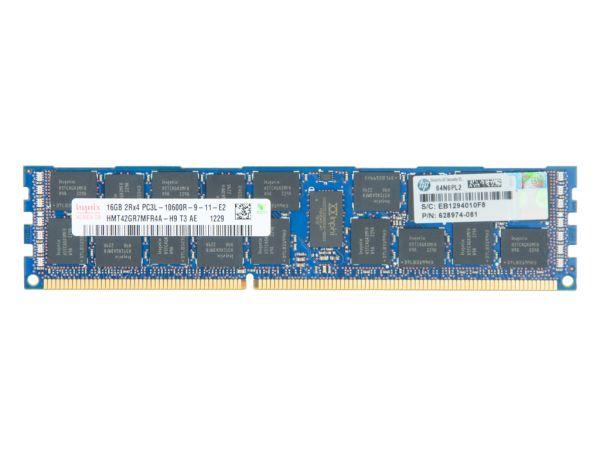 HPE 16GB DDR3 RAM 2Rx4 PC3L-10600R Low Power REG Dimm, 627812-B21, 628974-081