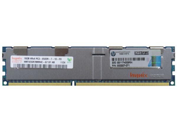 HPE 16GB DDR3 RAM 4Rx4 PC3-8500R-7 REG Dimm, 500666-B21, 500207-071