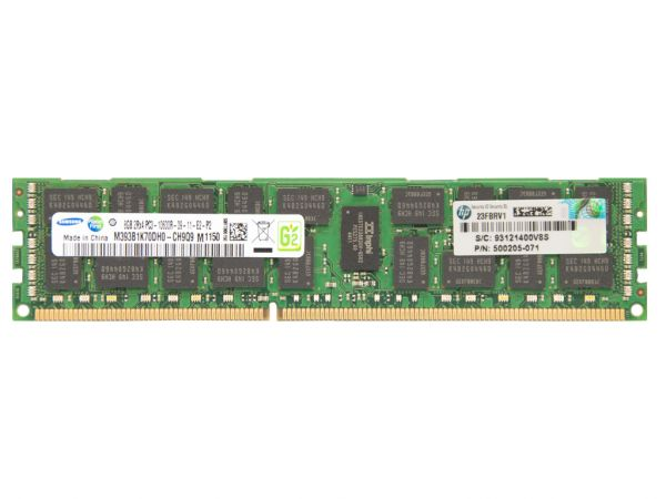 HPE 8GB DDR3 RAM 2Rx4 PC3-10600R-9 REG Dimm, 500662-B21, 500205-071