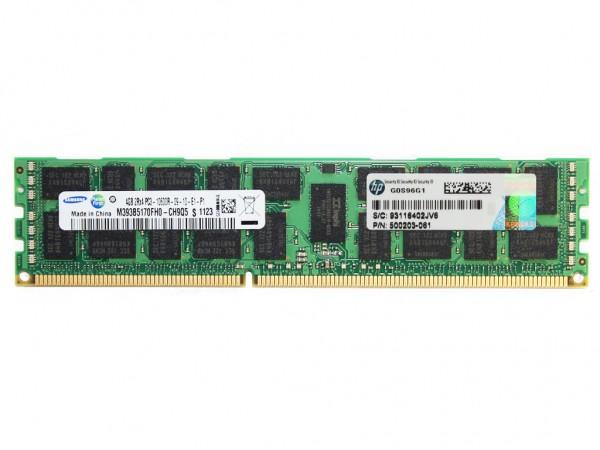 HPE 4GB DDR3 RAM 2Rx4 PC3-10600R-9 REG Dimm, 500658-B21, 500203-061
